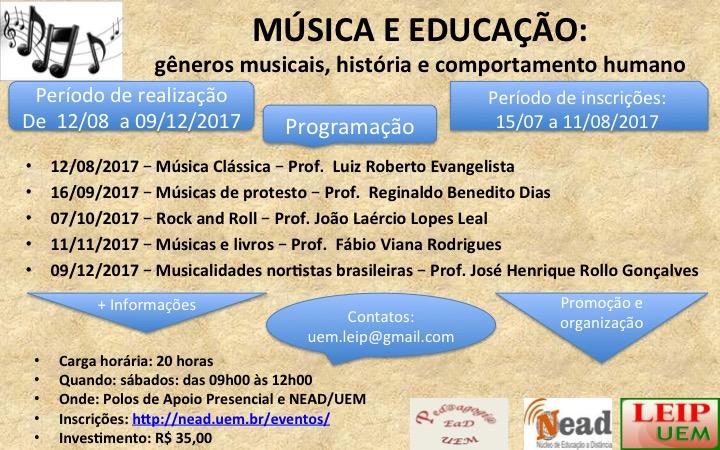 Banner do evento música e educação